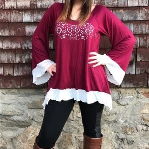 Boutique Maroon Bell Sleeved Tunic Blouse
